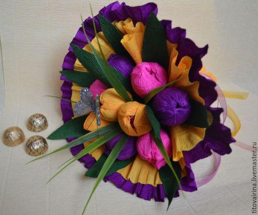 """Букеты ручной работы. Ярмарка Мастеров - ручная работа. Купить Букет из конфет """"Весна"""". Handmade. Фиолетовый, букет тюльпанов"""