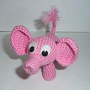 Куклы и игрушки ручной работы. Ярмарка Мастеров - ручная работа Розовый слоник вязаный. Handmade.