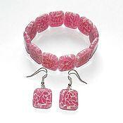 """Украшения ручной работы. Ярмарка Мастеров - ручная работа """"Розовый лёд"""" комплект браслет и серьги.. Handmade."""