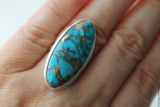 """Кольца ручной работы. Ярмарка Мастеров - ручная работа. Купить Кольцо с бирюзой """" Мозаика"""". Handmade. Тёмно-бирюзовый, кольцо"""