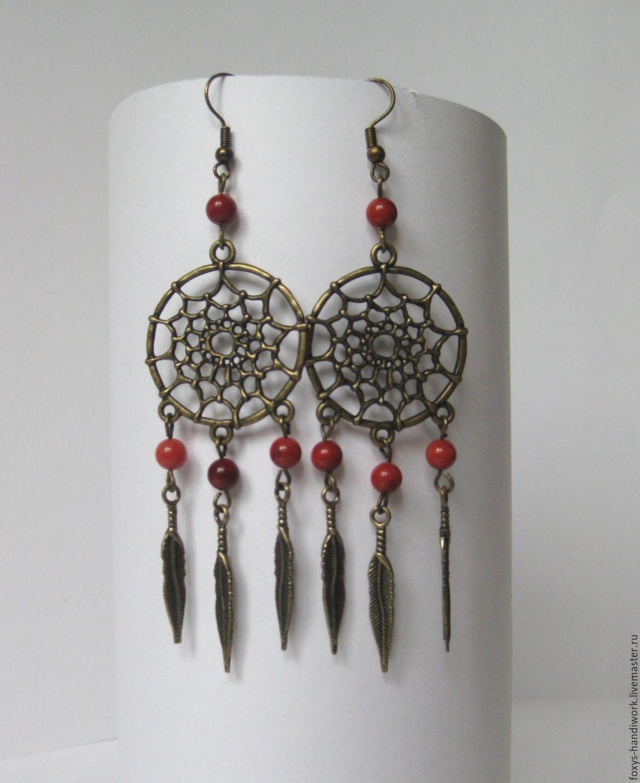 Earrings long 'dream Catchers' with coral bronze, Earrings, Tula,  Фото №1