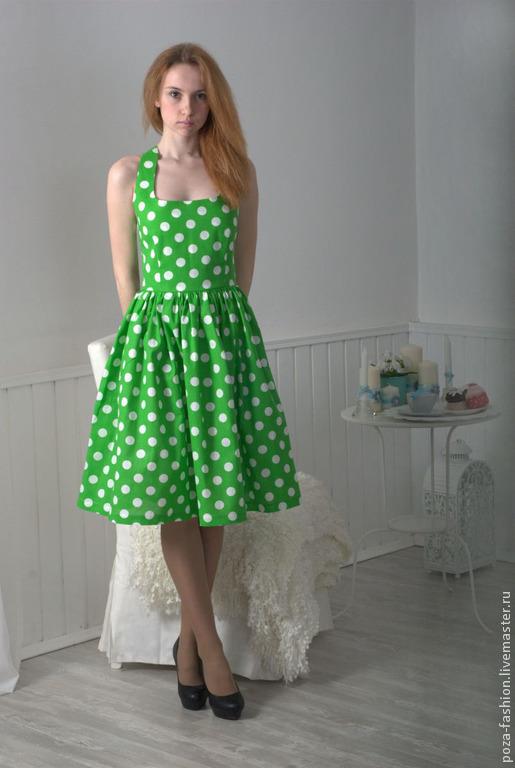 Платья ручной работы. Ярмарка Мастеров - ручная работа. Купить Платье Зеленый горошек. Handmade. Ярко-зелёный, красивое платье