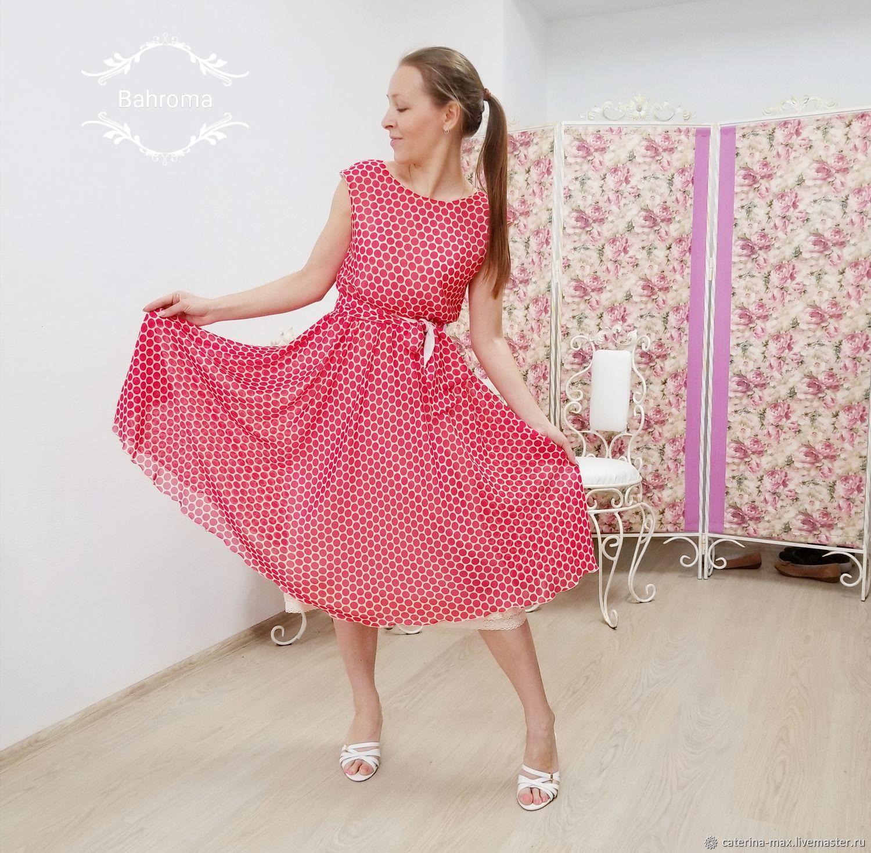 8d686011d409 Купить Платье в красный горошек шифоновое · Платья ручной работы. Платье в  красный горошек шифоновое струящееся легкое летнее клеш ретро.