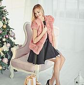 Одежда ручной работы. Ярмарка Мастеров - ручная работа Меховой жилет из кролика розовый. Handmade.