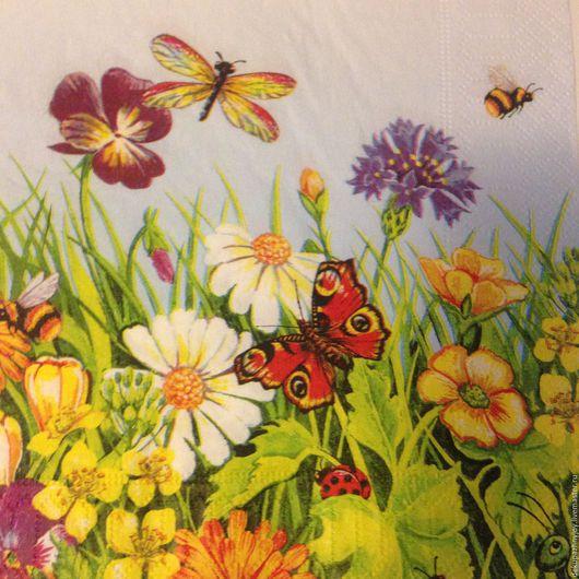 Салфетка для декупажа-летняя полянка: бабочки, стрекозы, ромашки Декупажная радость