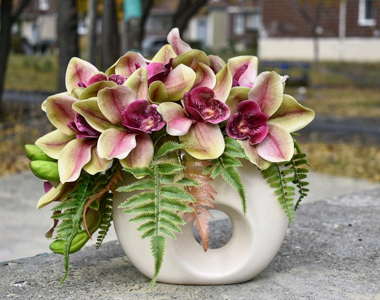 Интерьерная композиция с орхидеями цимбидиум, Композиции, Ульяновск, Фото №1