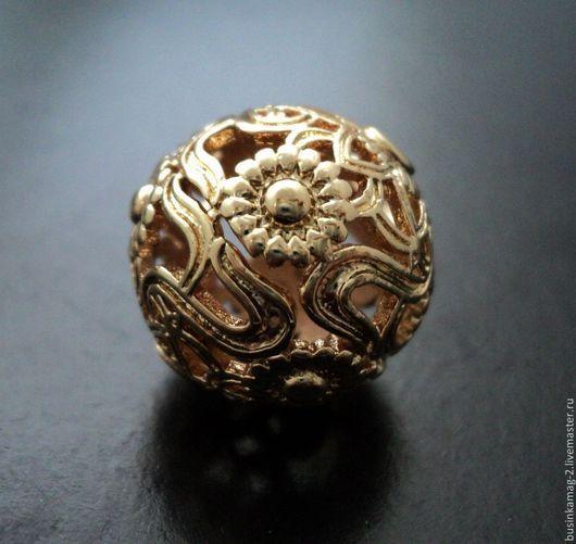 Для украшений ручной работы. Ярмарка Мастеров - ручная работа. Купить Бусина крупная ажурная, форма шар, пр-во Ю.Корея 17мм, позолота. Handmade.