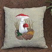 Для дома и интерьера handmade. Livemaster - original item Decorative sofa cushion with embroidery applique stitch quilting. Handmade.