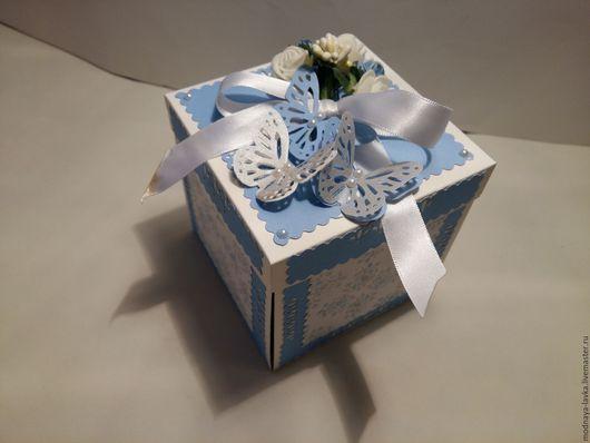 Персональные подарки ручной работы. Ярмарка Мастеров - ручная работа. Купить коробочка для денег. Handmade. Голубой, подарок