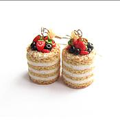 """Украшения ручной работы. Ярмарка Мастеров - ручная работа Серьги """"Бисквит с ягодами"""". Handmade."""