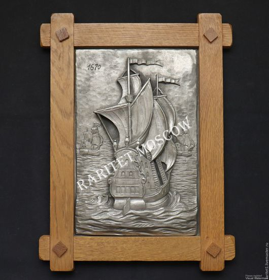 Винтажные предметы интерьера. Ярмарка Мастеров - ручная работа. Купить Панно корабль олово дуб Германия 30. Handmade. Разноцветный