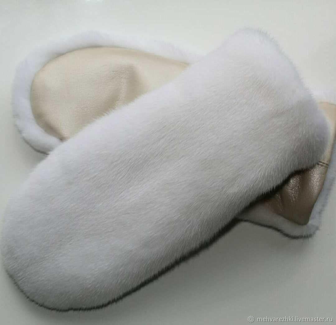White mink fur mittens, Mittens, St. Petersburg,  Фото №1