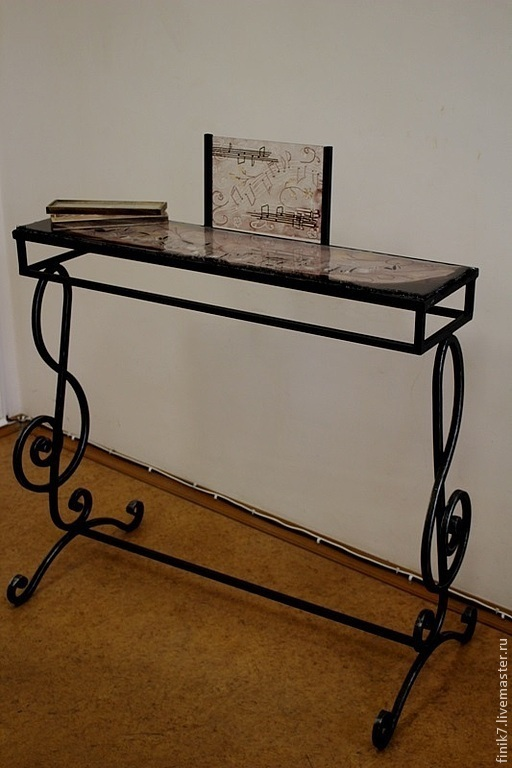 """Мебель ручной работы. Ярмарка Мастеров - ручная работа. Купить Фьюзинг. Стол """"Музыка"""". Handmade. Тёмно-фиолетовый, Ковка, столик"""
