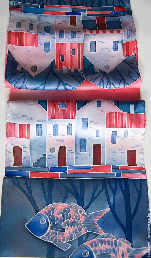 Шарфы и шарфики ручной работы. Ярмарка Мастеров - ручная работа. Купить Город на воде - шелковый шарф с ручной росписью. Handmade.