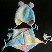 Работы для детей, ручной работы. Ярмарка Мастеров - ручная работа Шапочка с пумпонами и бактусом. Handmade.
