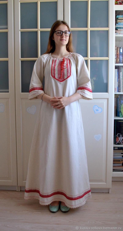 Dress 'Makosh' linen Russian Slavic long, Folk dresses, Anapa,  Фото №1