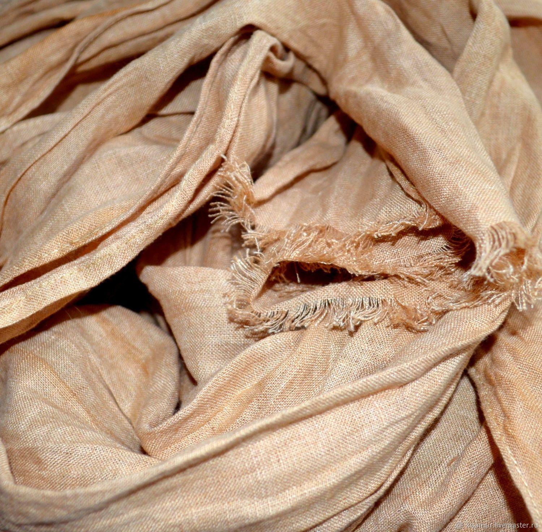 Linen scarf beige women's men's boho ethno style, Scarves, Vyazma,  Фото №1