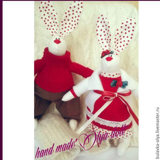 """Куклы Тильды ручной работы. Ярмарка Мастеров - ручная работа. Купить зайчики """" Тильда"""". Handmade. Ярко-красный, парочка"""