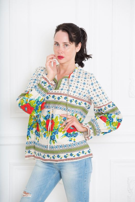 """Блузки ручной работы. Ярмарка Мастеров - ручная работа. Купить Блуза из натурального хлопка """"Маки"""". Handmade. Блуза, блузка из хлопка"""