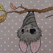 Канцелярские товары ручной работы. Ярмарка Мастеров - ручная работа ткань  с вышивкой  для обложки альбома летучая мышь. Handmade.