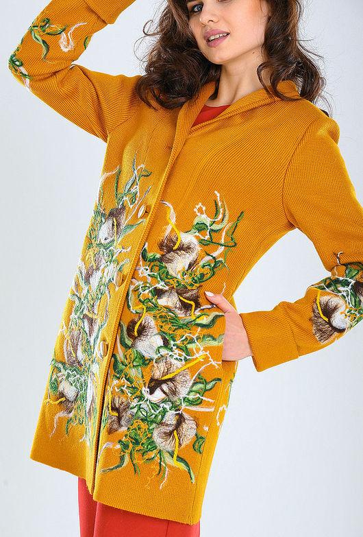 Верхняя одежда ручной работы. Ярмарка Мастеров - ручная работа. Купить ППЛ27. Handmade. Красивые вещи, Сухое валяние, оранжевый