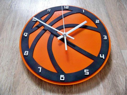 """Часы для дома ручной работы. Ярмарка Мастеров - ручная работа. Купить Настенные часы """"Баскетбольный мяч №1"""". Handmade. Оранжевый"""