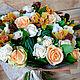 Букет из живых цветов Кремово-персиковый