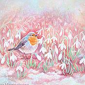 """Картины и панно ручной работы. Ярмарка Мастеров - ручная работа Картина """"Первые цветы"""" розовый белый подснежники птица. Handmade."""