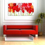 Картины и панно ручной работы. Ярмарка Мастеров - ручная работа Красные тюльпаны. Handmade.