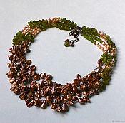 Украшения handmade. Livemaster - original item A necklace of pearls and peridot. Handmade.