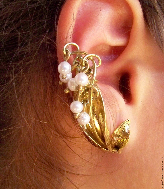 //WIRE WRAP/ / 'Lily of the Valley' Cuff .Earrings with pearls , Cuff Earrings, Krasnodar,  Фото №1