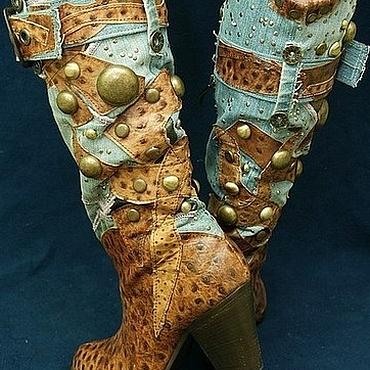 """Обувь ручной работы. Ярмарка Мастеров - ручная работа Сапоги: Казаки осенние """"Дикий Запад"""" кожа+джинса. Handmade."""