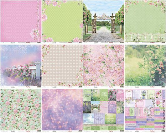 В набор входит 12 листов бумаги с дизайнами коллекции из них 2 листа с карточками.   Размер: 30,5х30,5 см. Плотность: 190 гр-м Коллекция: Цветущий сад In bloom Бренд: ScrapBerry`s