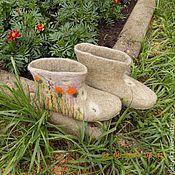 """Обувь ручной работы. Ярмарка Мастеров - ручная работа Тапочки """"Одуванчики"""". Handmade."""