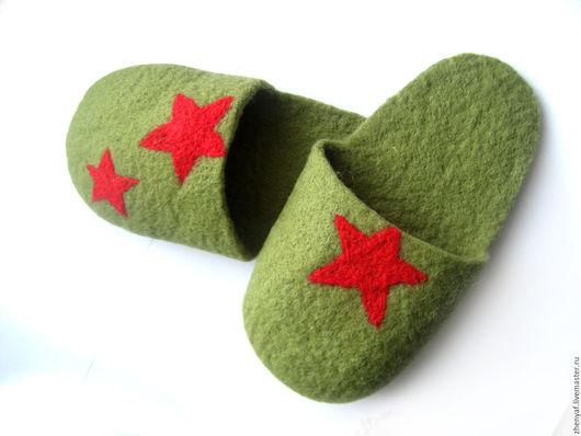 Обувь ручной работы. Ярмарка Мастеров - ручная работа. Купить Домашние тапочки. Handmade. Хаки, валяные тапочки, домашние тапочки