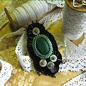 """Украшения handmade. Livemaster - original item brooch pendent from beads """"Malachite"""" black green.. Handmade."""