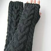 Аксессуары handmade. Livemaster - original item Mitts black, braids. Handmade.