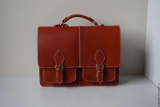 Мужские сумки ручной работы. Ярмарка Мастеров - ручная работа. Купить Лёгкий портфель. Handmade. Рыжий, натуральная кожа