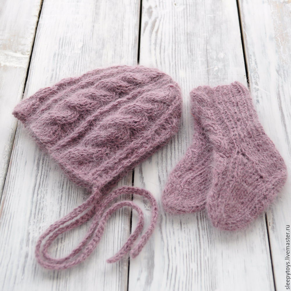 Пинетки носочки и чепчик для фотосессии новорожденных, сухая роза, Одежда, Саратов, Фото №1