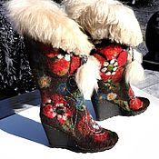 Обувь ручной работы. Ярмарка Мастеров - ручная работа Валенки с красными цветами. Handmade.