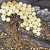 Картины ручной работы. Ярмарка Мастеров - ручная работа Панно объёмное денежное дерево горы пейзаж. Handmade.