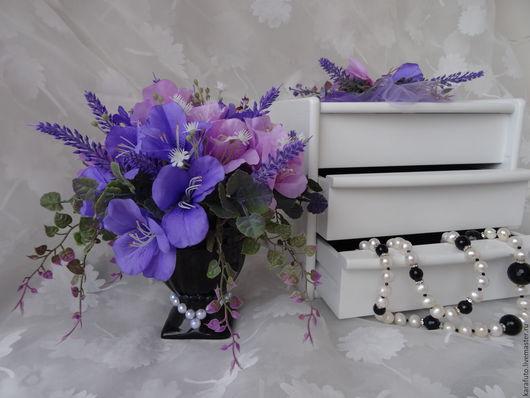 Цветы, букет, интерьерные цветы, интерьерный букет, флористическая композиция, интерьерная композиция, интерьерный букет, подарок женщине, подарок девушке, будуар, лиловый, лавандовый, ночь, эликсир
