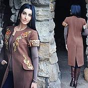 """Одежда handmade. Livemaster - original item Вышитое пальто """"Экзотика"""" стильный жилет с вышивкой. Handmade."""