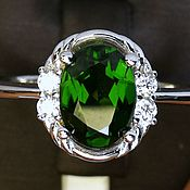 Украшения handmade. Livemaster - original item Silver ring with chrome diopside, 8h6. Handmade.