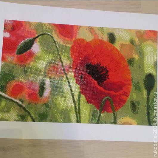 """Картины цветов ручной работы. Ярмарка Мастеров - ручная работа. Купить """"Мак"""". Handmade. Ярко-красный, картина, вышивка, стразы"""