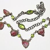 Украшения handmade. Livemaster - original item Necklace with watermelon tourmaline and peridot. Handmade.