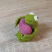 Войлочная игрушка ручной работы. Ярмарка Мастеров - ручная работа Лягушка из шерсти 6,5 см. Handmade.