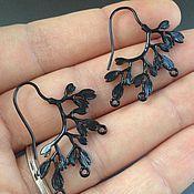 Материалы для творчества handmade. Livemaster - original item Earrings black art. 7-9 with three eyelets. Handmade.