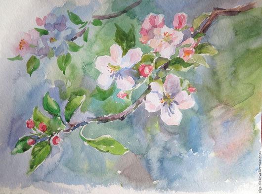 Картины цветов ручной работы. Ярмарка Мастеров - ручная работа. Купить Весенние цветы. Handmade. Мятный, цветущая яблоня, ландыши