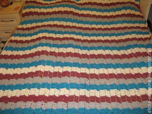 Текстиль, ковры ручной работы. Ярмарка Мастеров - ручная работа. Купить Плед вязаный крючком. Handmade. Комбинированный, полосатый плед